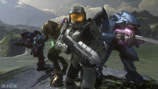 """Master Chief and friends on their """"where are they now?"""" photoshoot."""